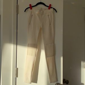 Pants - Zara white pants with leather patches sz 24